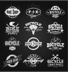 typographic bicycle label and logo chalk drawing vector image