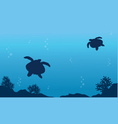 underwater landscape with turtle art vector image