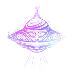 Unknown flying object ufo with decoration and vector