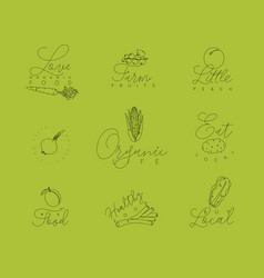 vegetables and fruits pen line symbols green vector image