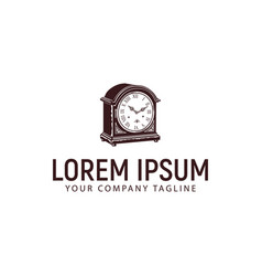 vintage clock logo design concept template vector image