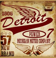 Vintage man t shirt graphic design about detroit vector