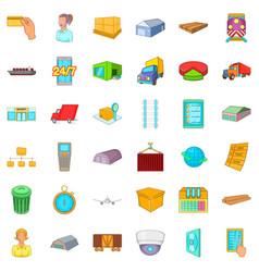 warehouse icons set cartoon style vector image