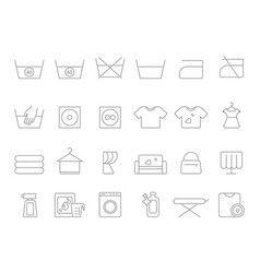 washing and laundry line symbols icons set vector image