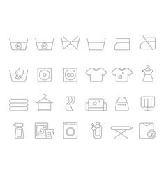 washing and laundry line symbols icons set vector image