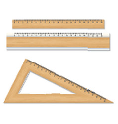 Wood school rulers isolated on white background vector