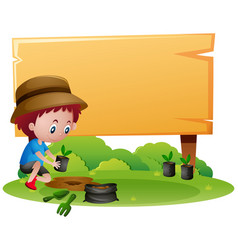 Wooden sign template with boy planting tree vector