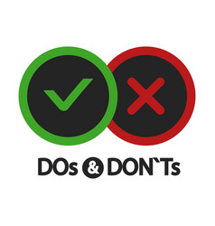 yes and no dos and donts positive and negative vector image