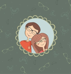 Enamoured couple of boy and girl in eyeglasses vector image vector image