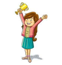 girl win a trophy vector image