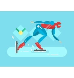 Ice speed skater cartoon character vector image vector image