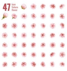 Sakura cherry icon set of 47 flower EPS 10 vector image
