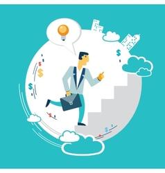 Businessman runs up the career ladder with ideas vector