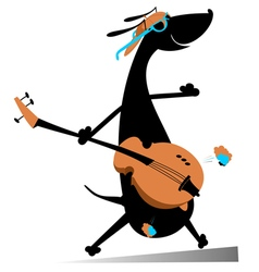 Dog is playing guitar vector image vector image