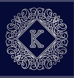 monogram k bage logo text vector image