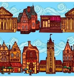 Sketch city seamless border vector image