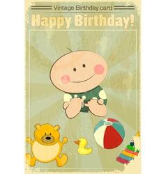 Vintage Baby Birthday Card vector image vector image