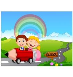 Cartoon little kid go to school vector image vector image