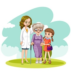 Doctor and two patients in the field vector image