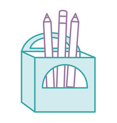pencils box packing icon vector image