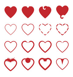 several style of red heart icons set vector image vector image