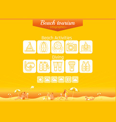 summer beach travel icon set infographics banner vector image vector image