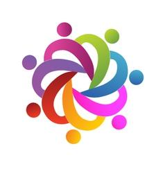 Teamwork people helping logo vector image vector image