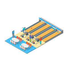bowling alley isometric view vector image vector image