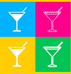 cocktail sign four styles of icon on vector image