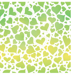 green gradient hearts seamless pattern vector image