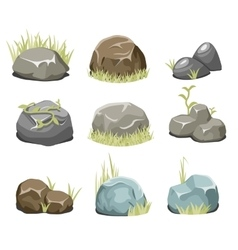 Rocks with grass stones and green grass on white vector image vector image