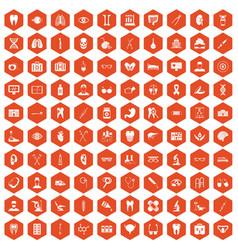 100 medical icons hexagon orange vector