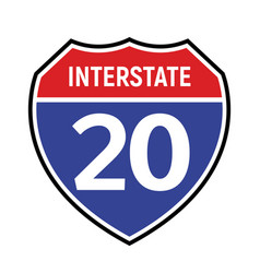 20 route sign icon road 20 highway vector