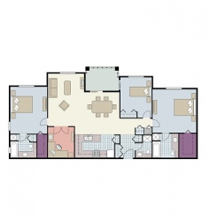 3 bed furnished floor plan vector