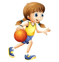 A cute young lady playing basketball vector
