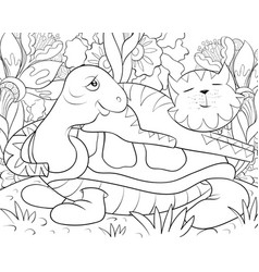 adult coloring bookpage a cute cat on the turtle vector image