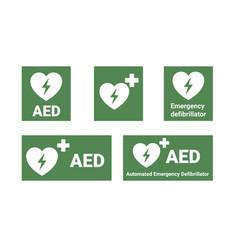 Aed emergency defibrillator location signs vector