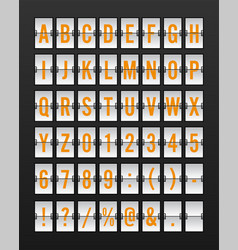 Airport mechanical flip board panel font vector