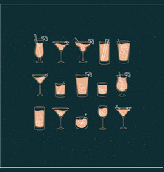 Alcohol drinks and cocktails icon flat set dark vector