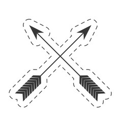 Arrow crossed decoration thin line vector
