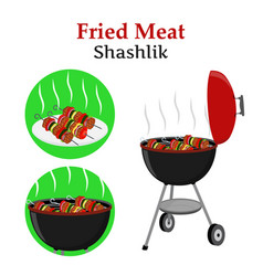 barbecue set - grill station shashlik kebab vector image