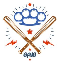 Baseball bats crossed criminal gang logo or sign vector