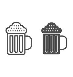 beer mug line and glyph icon beverage vector image