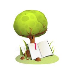book under tree watercolor style vector image