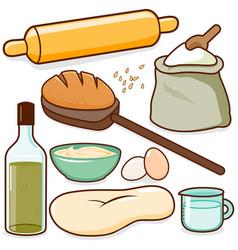 bread baking recipe ingredients vector image
