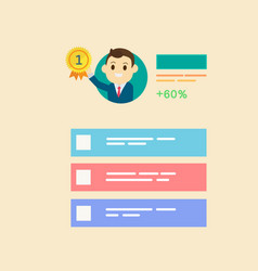 businessman get reward in number one with profile vector image