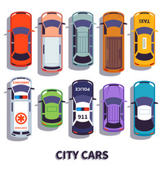 car top view city vehicle transport automobile vector image