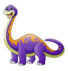Cartoon a big purple dinosaur with a long neck dip vector
