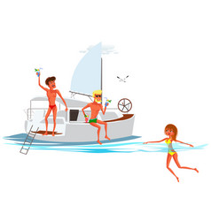 cartoon people swimming and resting on luxury vector image