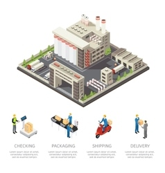 Colored Factory Isometric Composition vector image